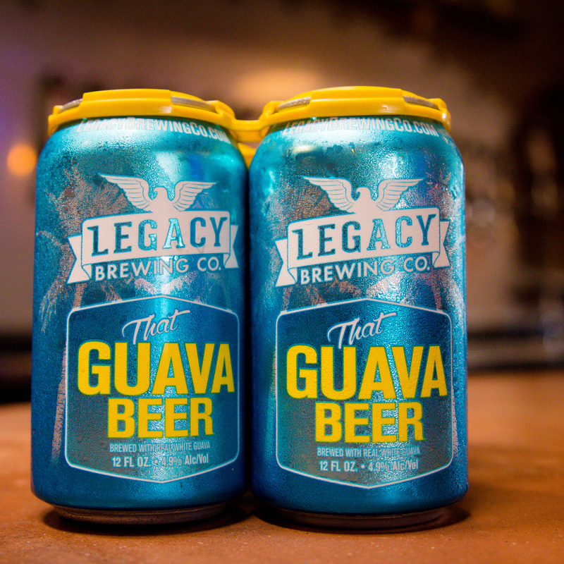 Two blue cans of Legacy Brewing Guava beer