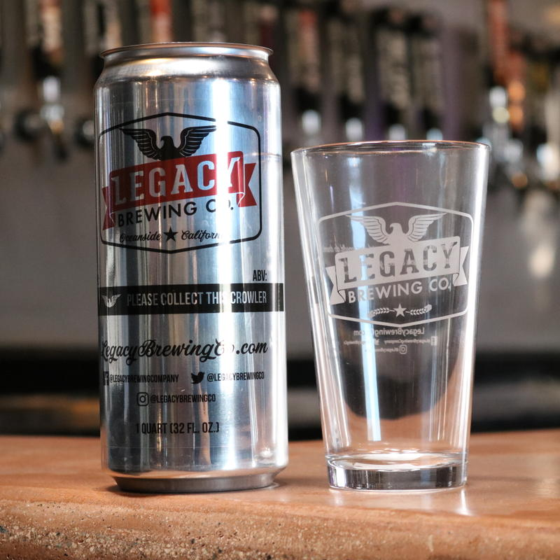 A glass and a can of Legacy brewing beer