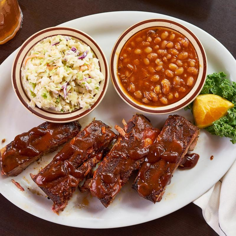 Ribs, cabbage salad and beans