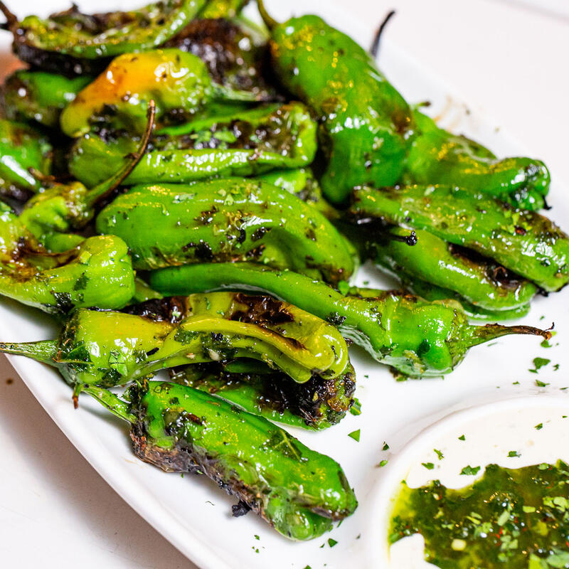 Roasted green peppers