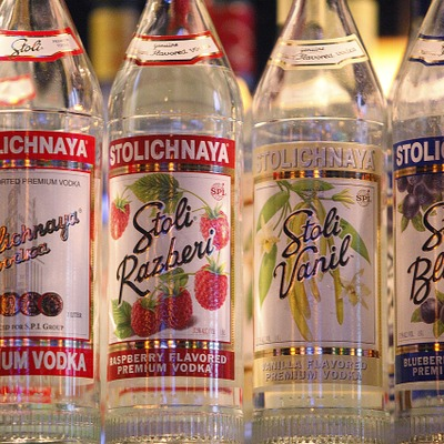 Various flavoured vodka bottles
