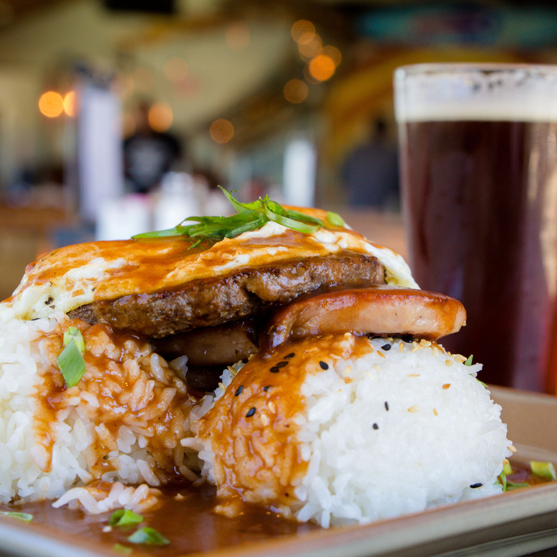 Loco Moco Dish and a beer. Rice, Spam, Gravy and an Egg.