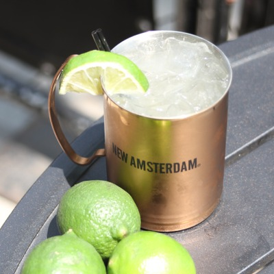 Moscow mule cocktail with limes