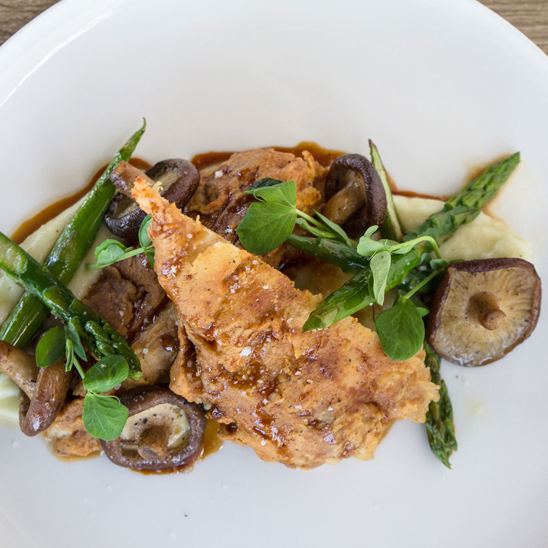 Chicken with asparagus, mushrooms and mashed potatoes, top view