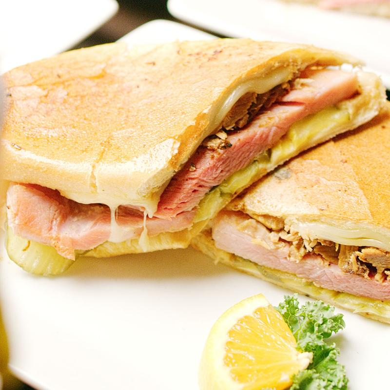 Sandwich with ham and pickles