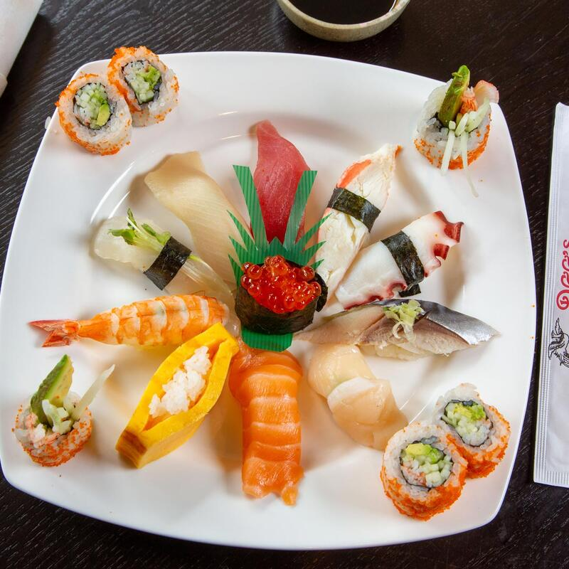 Different types of sushi with decorations