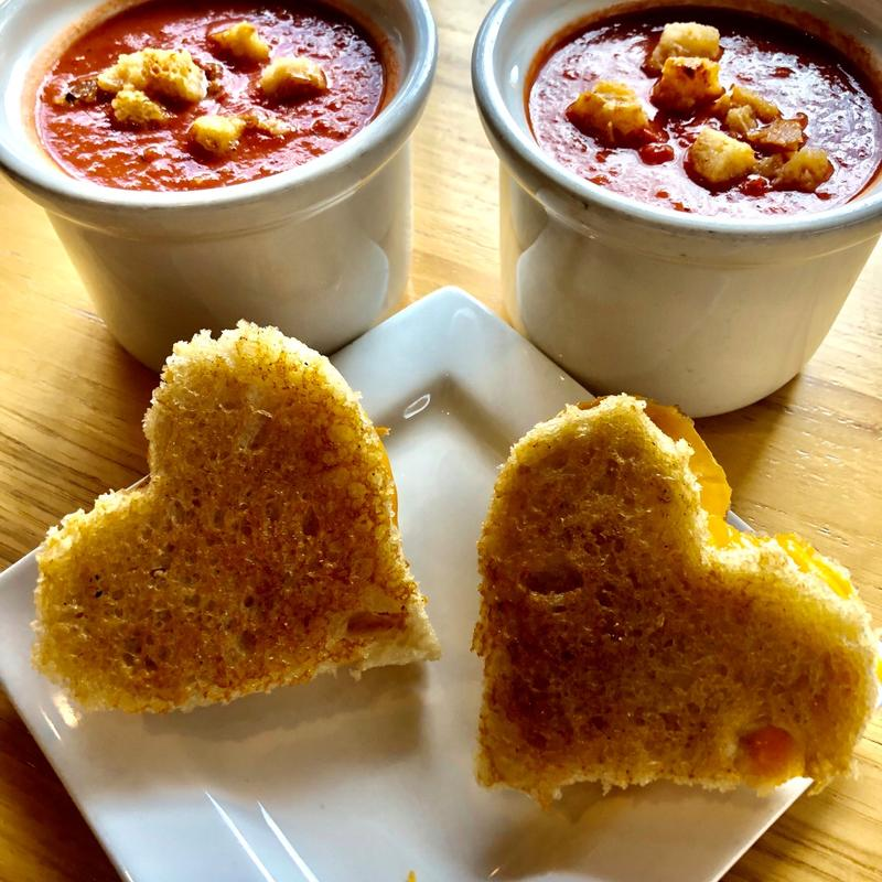 Heart shaped toasts with dips