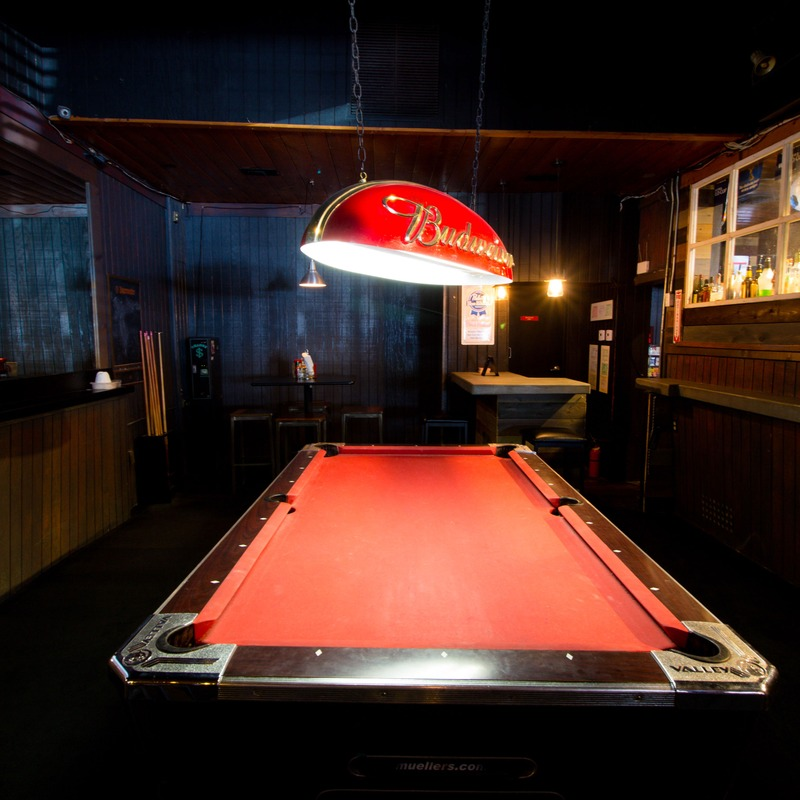 Interior, red pool table