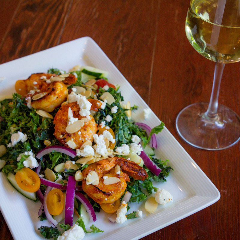 kale salad with fire shrimp