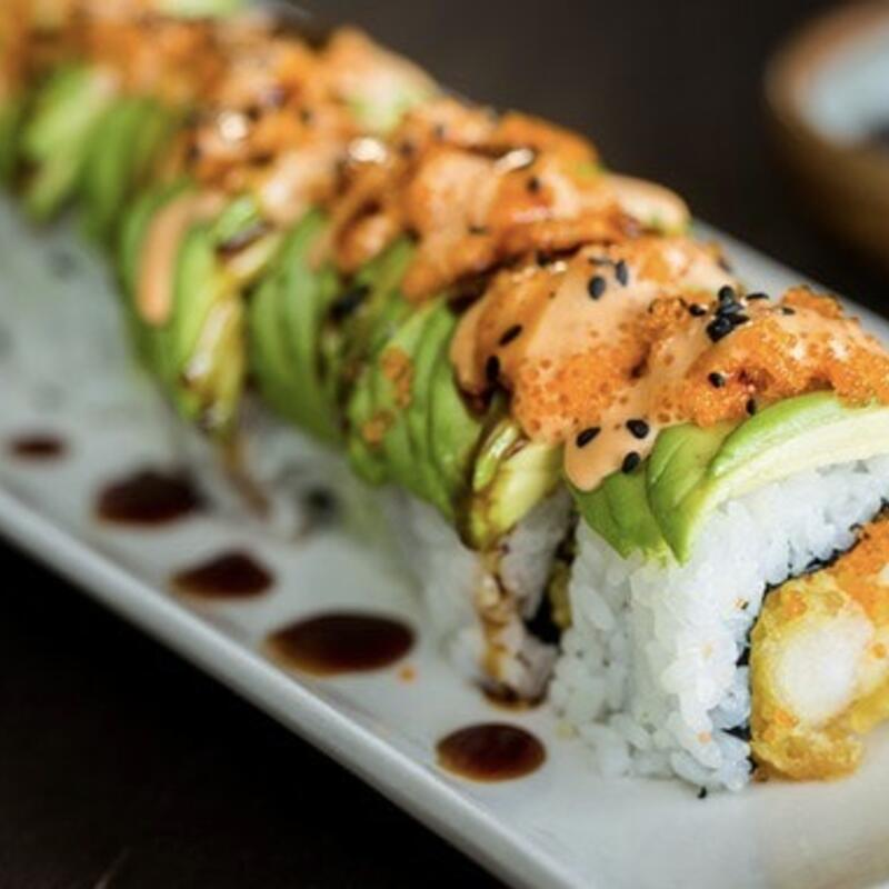 Sushi with avocado and sauce