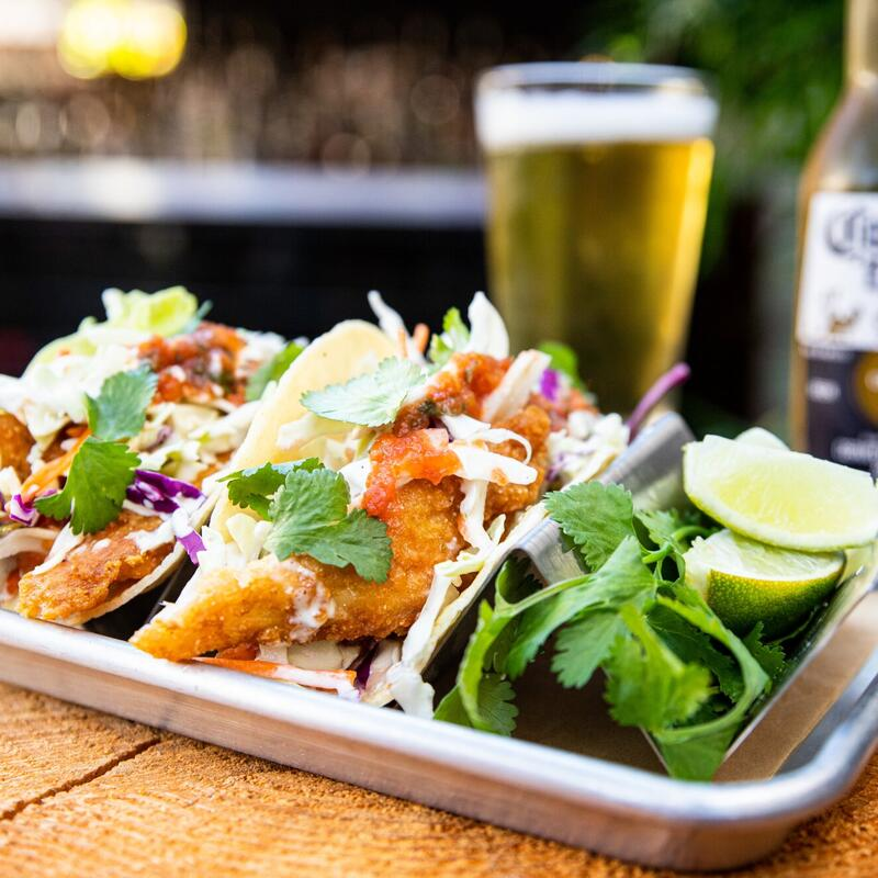 Fish tacos with avocado, draft beer and vegetables