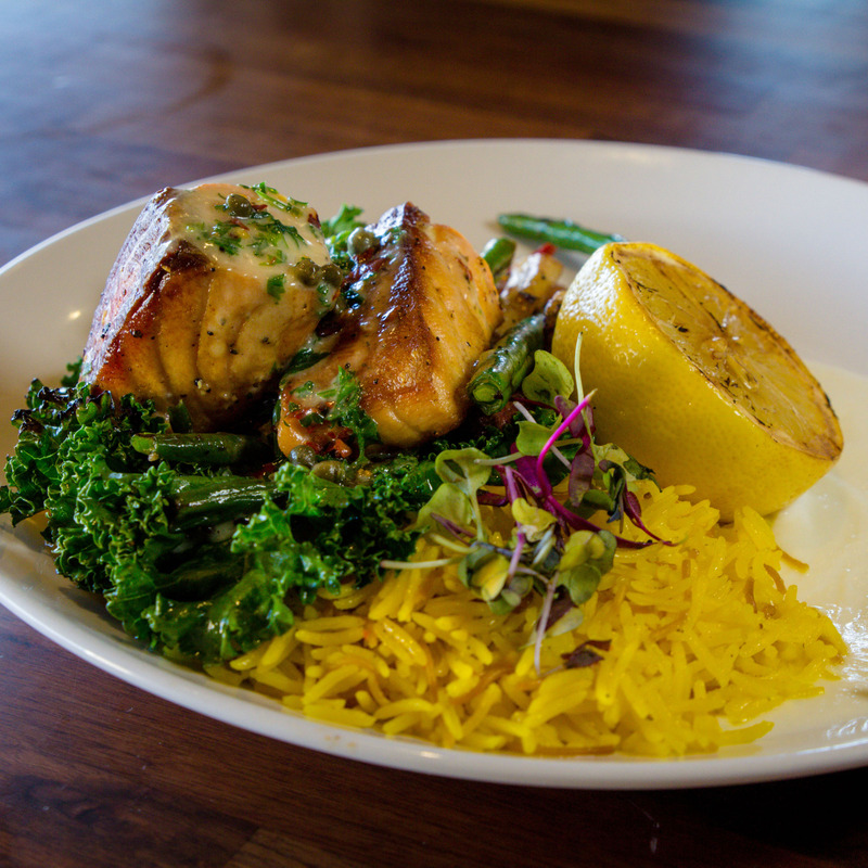 Lemon Caper Salmon, Basmati rice, roasted cauliflower puree, grilled kale, carrots, green beans, charred lemon