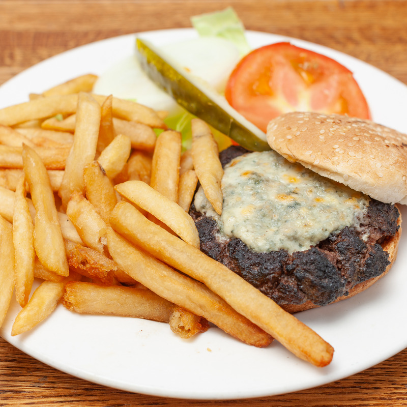 Blue cheese burger with French Fries