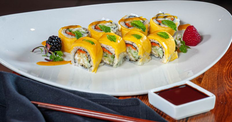 Yellow sushi lined up