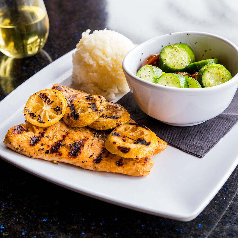 Grilled fish with veggies and rice
