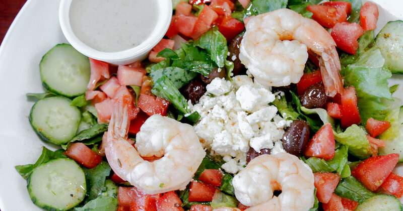 Classic Greek, Kalamata Olives, Feta and shrimp