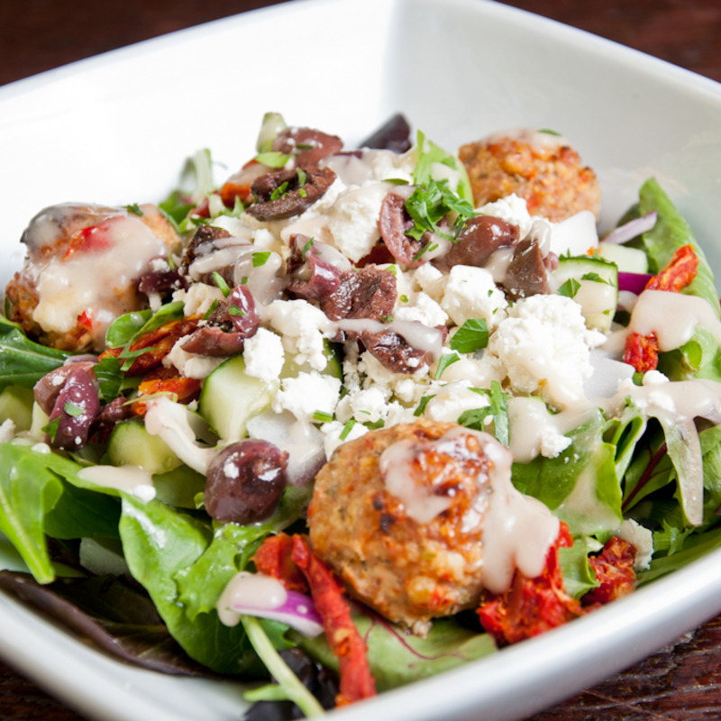 The Mediterranean Meatball bowl over salad