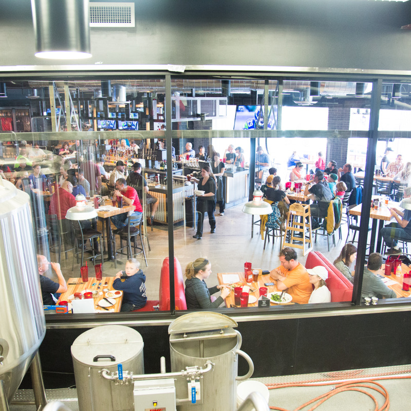 A look at the restaurant from inside the brewery