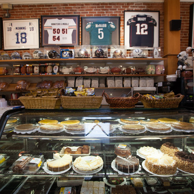 Interior, display case with various desserts