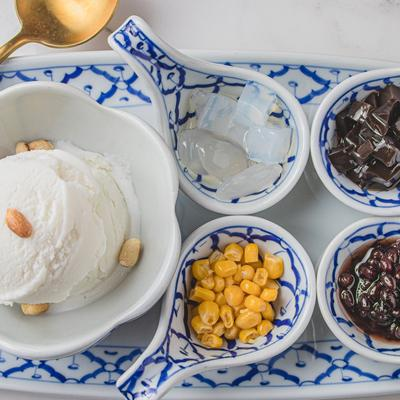 Coconut Ice Cream with Thai Style Topping photo