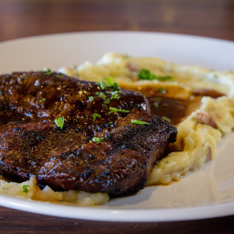 Rib- Eye $10 USDA prime aged 10 oz, red wine peppercorn demi, includes your choice of side