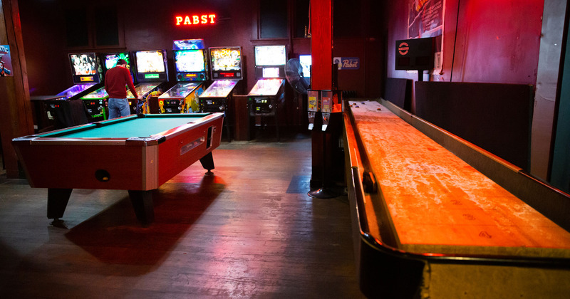 Interior, pool tables and arcade games