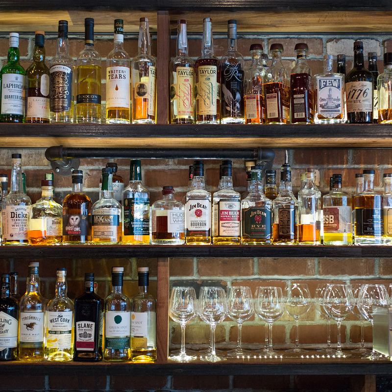 Back Bar featuring some of our 330+ Whiskey choices