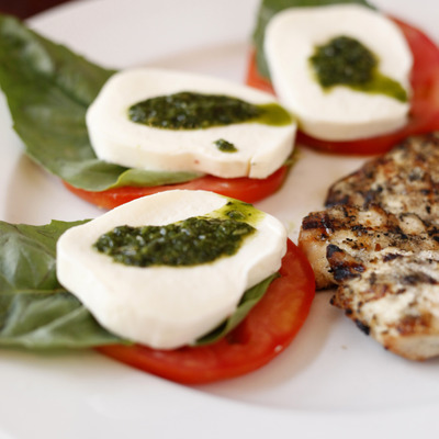 Mozzarella and tomato with basil