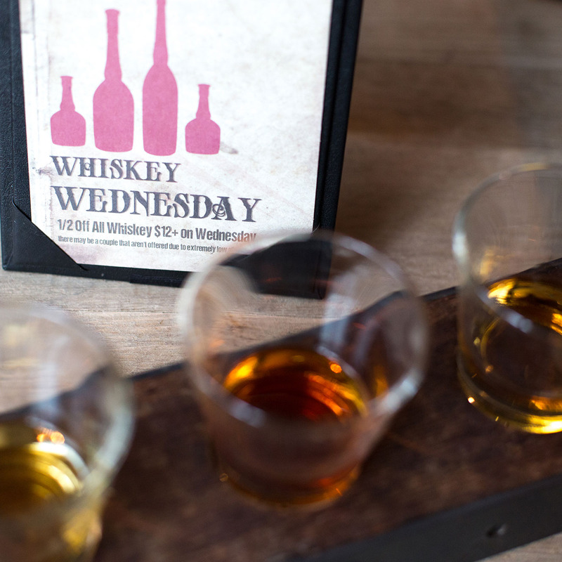 Flight of Whiskey, featuring our 1/2 off Whiskey Wednesday Discount