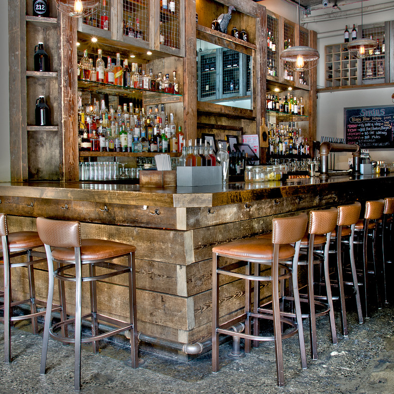 Cozy wood bar, plenty room high stools