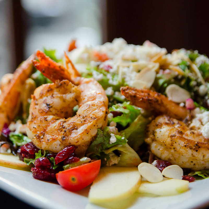 Goat Cheese and Apple Salad with Grilled Shrimp