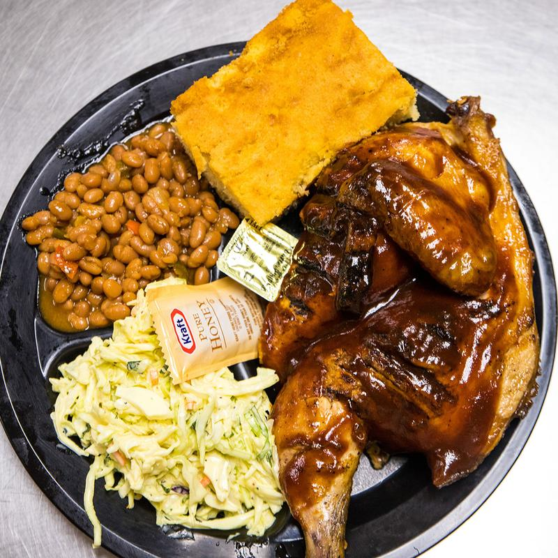 Grilled chicken, beans, salad and pastry