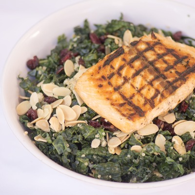 Grilled fish with greens and nuts