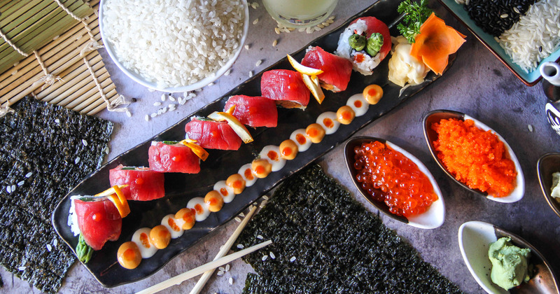 Different types of sushi lined up