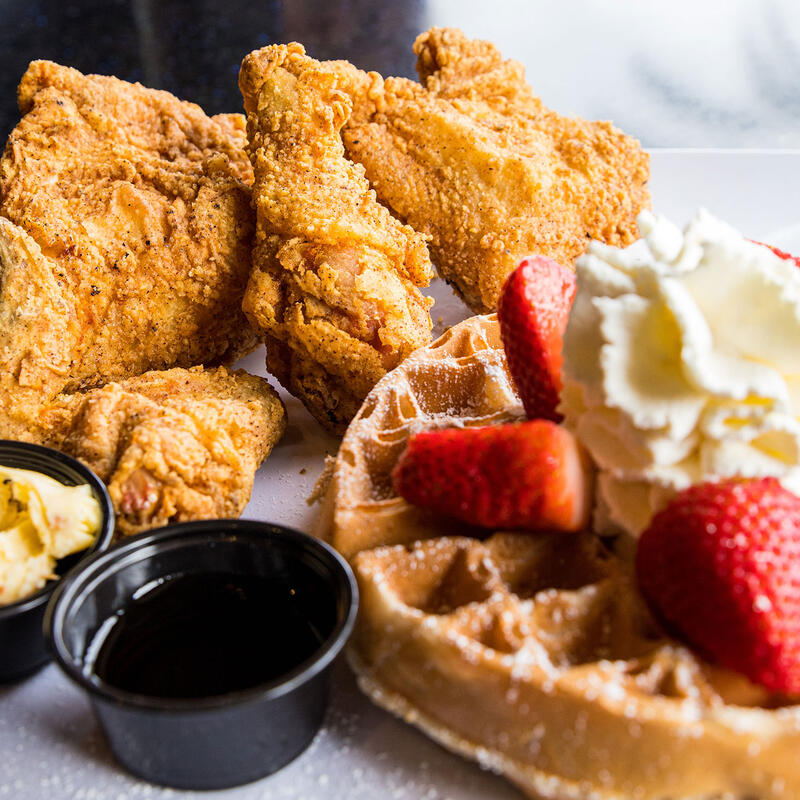 Fried Chicken and Waffles Plate