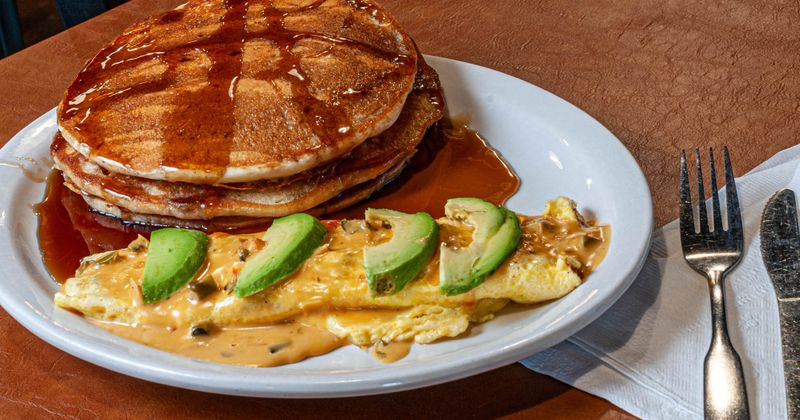pancakes with syrup and avocado