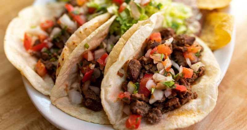 Tacos with meat and vegetables