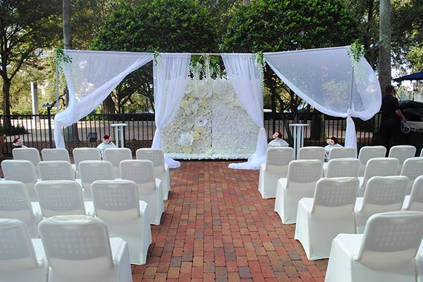 lakeside wedding patio