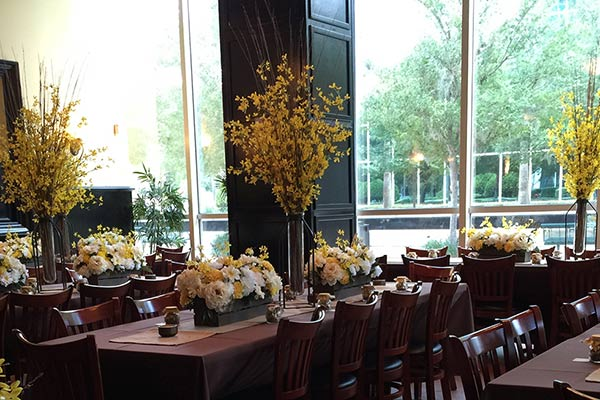 lakeside dining room with flowers