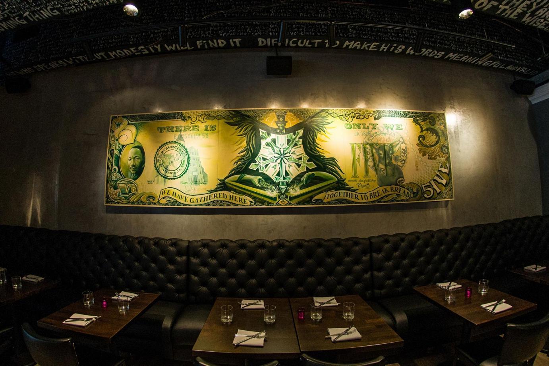 dollar bill wall