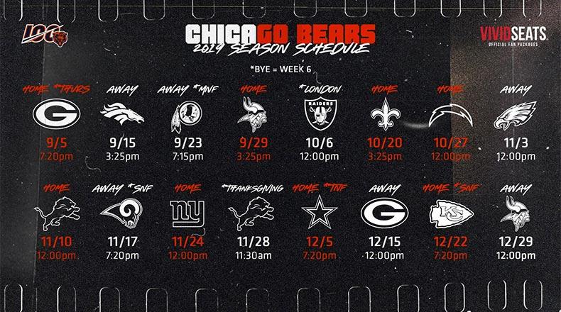 Chicago Bears calendar