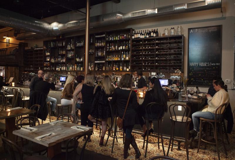 Interior, bar area, guests