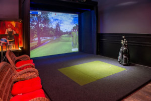 Interior, golf game on the wall