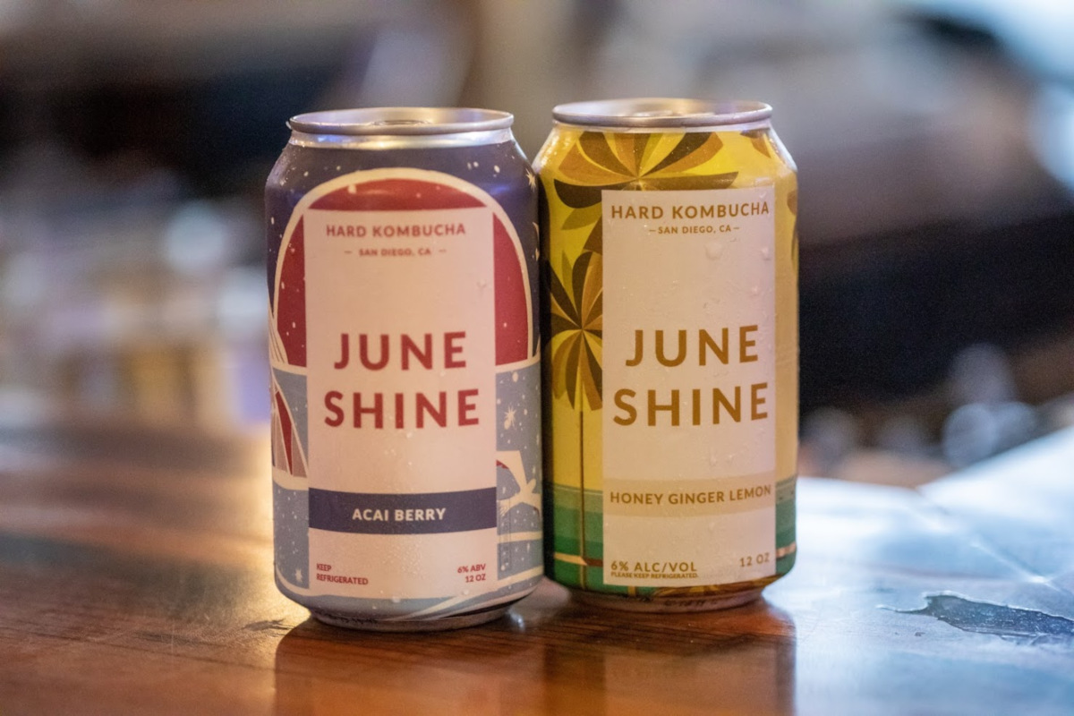 Two June Shine beer cans