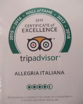 Allegria Italiana restaurant Tripadvisor's certificate of excelence for 2019