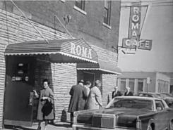Vintage photograph, black an white Roma cafe exterior