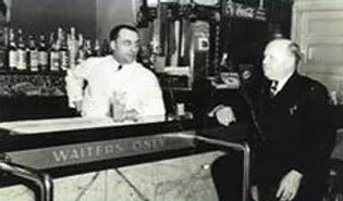 Vintage photograph, black an white, interior, bar area