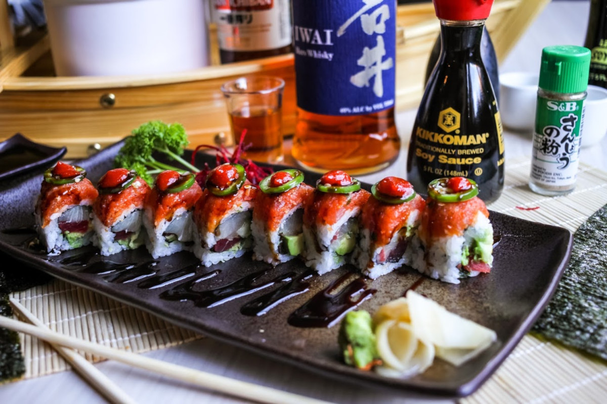 Sushi lined up on the plate