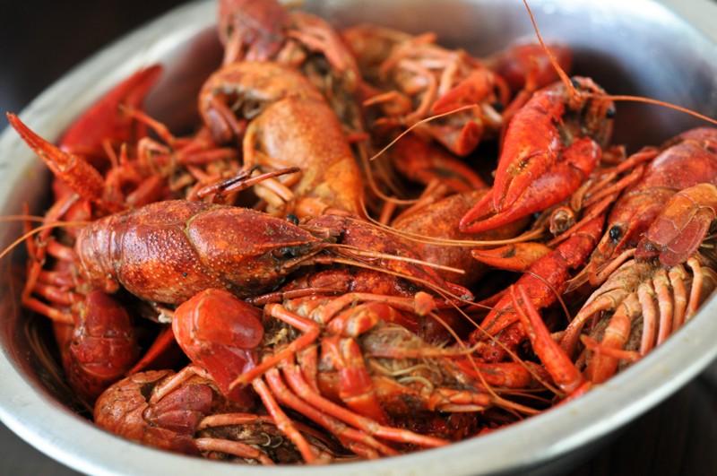 bowl filled with crawfish
