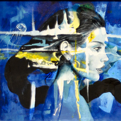 Woman's face, side view, blue painting with jellyfish